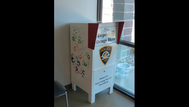 New prescription drug drop off container in the lobby of the police department