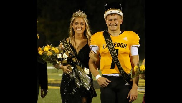 Seniors Karlie Fletcher and Ty Campbell pose for a photo after being named CHS queen and king.