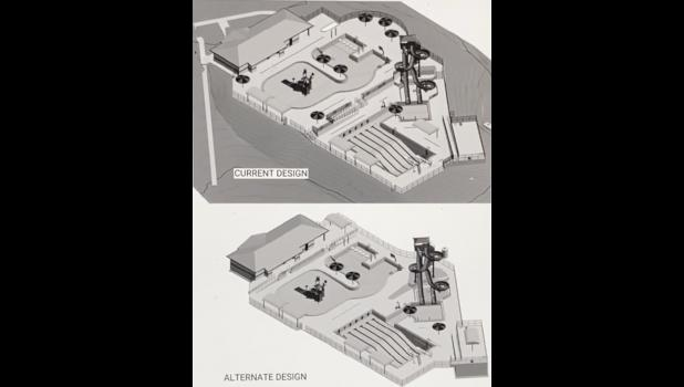 Shown here are two early concepts for the new Cameron Aquatic Center.