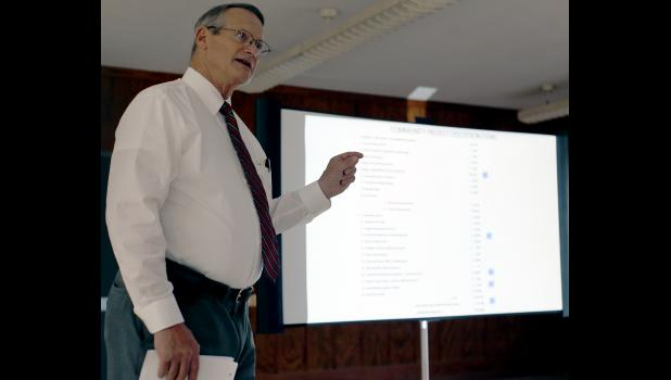 Cameron City Manager Steve Rasmussen gives a rundown of city finances during Monday's meeting.