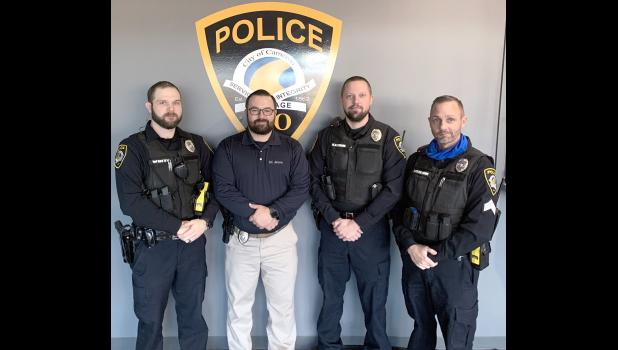 Shown here are a bearded Cameron PD Officer Devin White, Detective Bryson Janovec, Officer Kyle Glazebrook and Sergeant Shane Stevenson.