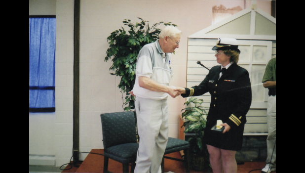 Don Pulley receiving Purple Heart many years later