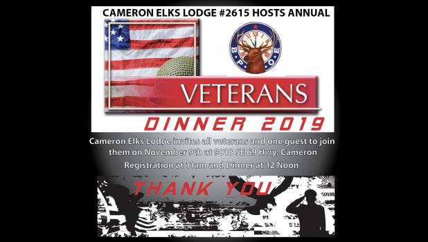 Veterans Dinner this Saturday Nov 9 at noon (registration at 11am)