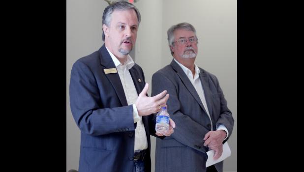 Missouri State House Representatives Randy Railsback and J. Eggleston give a legislative update to retired teachers earlier this month.
