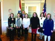 Allie Hansen, Amelia Welch, Secretary of State Jay Ashcroft, Raegan Lodder, Jenna Seitz, CVMS Principal Tiffani Collins, Ashtin Foley.