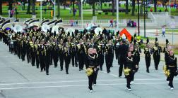 The Cameron Dragon High School Marching Band was the largest band competing at the MWSU competition.