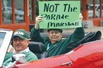 Cameron Citizen-Observer staff writer Mike Hanrahan rides in a secret St. Patrick's Day Parade last year.