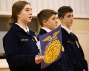 From left Amelia Welch announces the FFA's plan to provide 50,000 meals for area families.