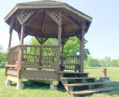 Cameron city workers recently relocated the gazebo shown here to the Cameron Dog Park.