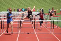 Morgan Choate (Sr) in the 110 meter hurdles placing 3rd and heading to Sectionals Saturday, May 21 at Richmond High School