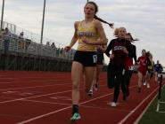 Freshman Bailey Robinson leads the pack during a race Tuesday.