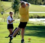 Hailee Williams tees off at the Cameron Veterans Memorial Golf Course.