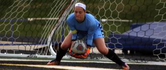 Cameron High School senior goal keeper MaKayla Proven makes a save.