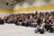 Veterans stand to be recognized during CVMS assembly