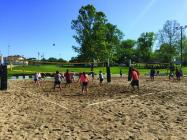 Co-Ed Sand Volleyball teams compete at Cameron's Recreation Park.