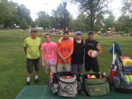 (L-R) Club members Gary Matheny, Kody Crom, Chris Ward, Nate Stock, and AJ Hunn meet for their weekly round of disc golf.