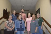 (L to R) Mayor Darlene Breckenridge and Jordan Assel. Front row: Marion Nelson, Carrie Young, BJ Reed, Denise Maddex and Carol Dickerson. Not pictured Quinten Lovejoy.