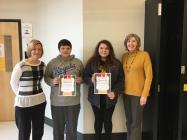 8th Grade English Teacher, Jennifer Reents-Dickkut, Cole Henderson, Mallery Davis and JoEllen Pratt, Cameron Optimist Club President