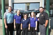 Grant Kohlstaedt, Director of Operations; Rebecca Pickard, General Manager; Crew members Jackie Eads and Katlynn Hughes; and Trent Kohlstaedt, Supervisor. Crew members attending the games but not pictured: Jarod Green, J.C. Reeves, Michael Cook and Taylor Hughes.