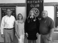 Brenna Bontrager recently made a presentation to the Rotary Club on her involvement with FFA. (L-R) Duane Kohlstaedt, Carmen Buller, Brenna Bontrager and Mark Baker.